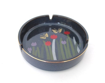 Otagiri Navy Blue Ashtray With Flowers & Butterflies Design.