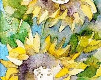 "Sunflowers, Original Watercolor Painting, 5""X7"""