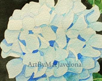 "Hydrangea, Original Watercolor Painting, 5""X7"""