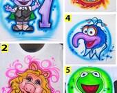 Airbrushed Sesame Street Custom T-shirt * Onesie * Hooded Sweatshirt * Hoodie * Pillowcase * Your Name * Your Favorite Paint Colors