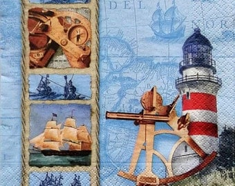 Set of 2 pcs 3-ply ''Nautical science'' paper napkins for Decoupage or collectibles 33x33 cm, Maritime napkins