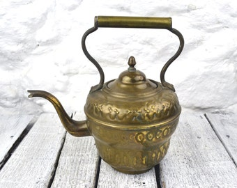 Large Vintage Antique French Brass Tea Kettle Country Kitchen Rustic