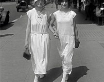 Walking Hand in Hand, 1924. Vintage Photo Digital Download. Black & White Photograph. Flapper, Girls, Friends, Summer, City, 1920s, 20s.