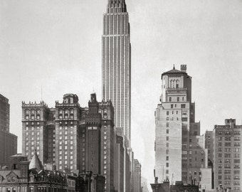Empire State & Midtown Manhattan, 1931. Vintage Photo Digital Download. Black and White Photograph. New York City, 1930s, 30s, Historical.