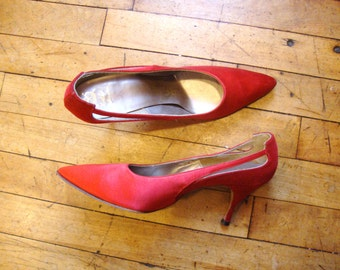 Vintage 1950's-60's Red Sateen and Velveteen Shoes * Custom Made* Size 7.5 AA