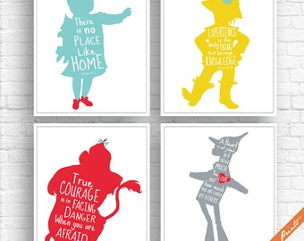 Wizard of Oz Quotes - Set of 4 Art Print (Unframed) (Featured in Aqua, Yellow, Red and Grey) Peter Pan Prints