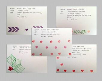 Jane Austen Valentine's Day cards, Valentines postcards, Jane Austen greeting card set, Austen postcards, Pride and Prejudice