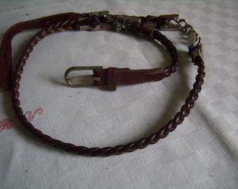 Belt boho leather Burgundy braided with insert metal, retro chain belt, belt BCBG, folk, hippie, bordeaux