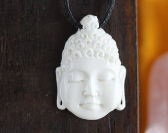Buddha Head Necklace - Hand Carved bone necklace - Buddha Necklace - Handcrafted Buddha Jewelry - Unique Bone Buddha Carving X35
