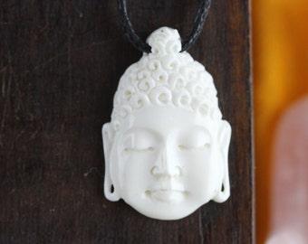 Buddha Head Necklace - Hand Carved bone necklace - Buddha Necklace - Handcrafted Buddha Jewelry - Unique Bone Buddha Carving X035