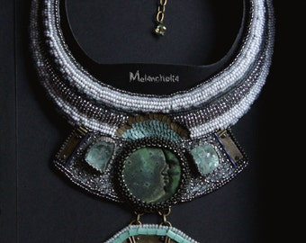aqua green and gray bib necklace for women/moon necklace/seed bead jewellery/bead embroidery/beadwork art jewelry/gemstone big necklace