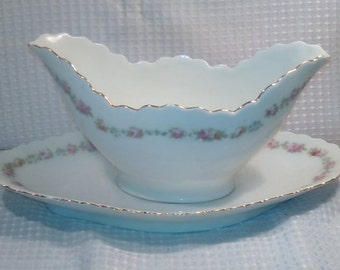 Antique Gravy Boat, Sauce Server with under plate, O&EG Royal Austria, Fine China from 1800's,  Collectible