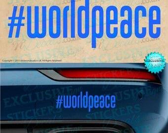 New!  #World Peace Bumper Sticker - Car Decal - Window Graphic - Vehicle Graphic - Car Sticker - Wall Art - Peace, Harmony, Love, Life, Live