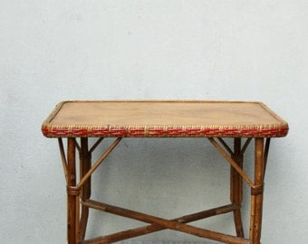 Coffee table vintage wooden wicker rattan / Dinette table / wicker decoration / Holy10