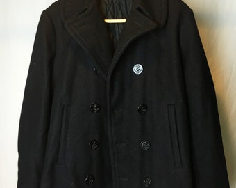 Vintage Wool Pea Coat by Sears and Roebuck // Naval Double Breasted Pea Coat
