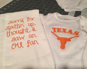 Longhorn onesie and burp cloth gift set