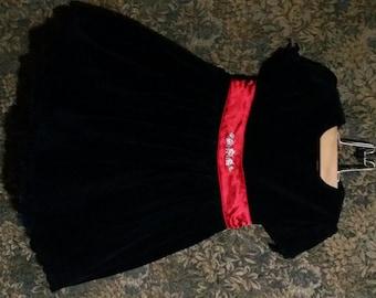 Little girl black velvet vintage holiday, dress with red decorative flower waist, back zip closure with a black  a  velvet bow.