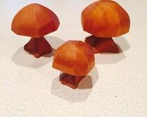 Vintage Wooden Mushroom Trio Retro Folk Art Wooden Adorable Hand Carved Mushrooms