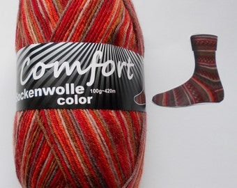 sock yarn 100g (6,-Euro/100g), red with brown, 4ply (1215b.06)