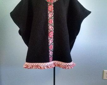 Boho Bohemian Black Felted Wool Poncho Cape Coat Jacket Kimono Anorak