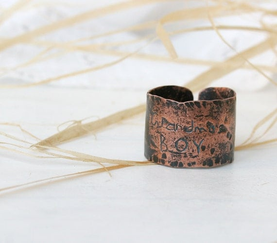 Hand Forged Copper  Ring - Mens ring -  Copper Ring - Rustic Texture Ring - Wide Copper Ring - Patina Jewelry - 13 Size RIng