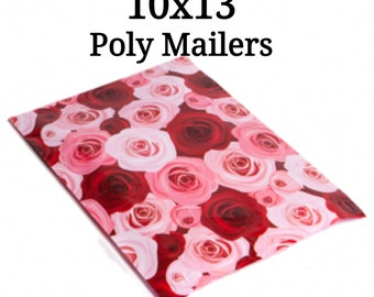 25  Pink/Red Rose Poly Mailers/Designed Poly Mailers/Size:10x13/Packing Supplies/Mailing Supplies/Peel & Seal
