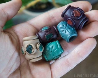 Custom! Clay Starburst Dreadlock Bead with Healing Crystals / Made to Order