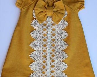Vintage Inspired Mustard and lace girl peasant dress