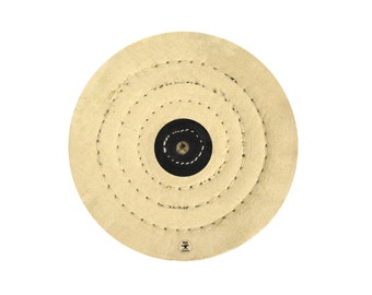 """6"""" x 40 Unbleached Calico Buffing Wheel Buff Leather Center Stitched Jewelry Making Metal Finishing Polishing Tool - POL-0087"""