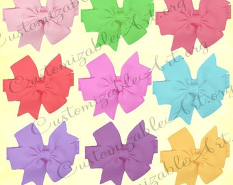 Bow Clipart Bow Clip Art Bow Digital Images Scrapbook Puffy Bow Printables Blue Green Red Pink Purple Yellow Blue Girls Ribbon Bow Clipart