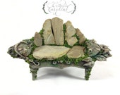 RESERVED // Hand Sculpted Love Seat & Topiary // Fairy sculpture, fairy figurine, fairy art, 1:12 fairy chair, miniature bench