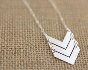 Chevron Necklace - Silver chevron ladder, 100% sterling silver, long boho necklace, layering necklace