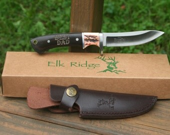 Great Christmas Gift Idea for Men, Engraved Hunting Knife & Leather Sheath, Unique Idea for Outdoors lovers, Personalized Stocking Stuffers
