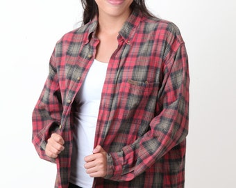 Flannel vintage red gray black plaid button up sleeve shirt oversized shirt L