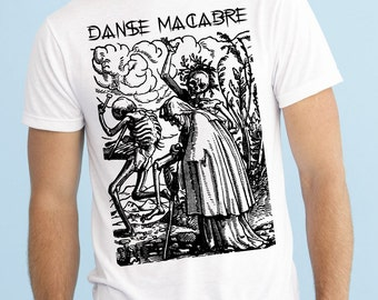 Danse Macabre Woodcut Occult T-Shirt Black on White