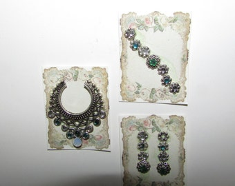 Dollhouse Miniature jewelry Emerald and Diamond earrings, bracelet, and necklace