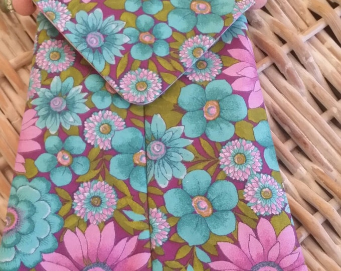 Phone Bags-(Turquoise n' Pink Floral)