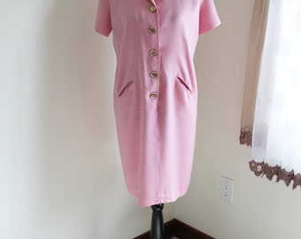 50s Pink Wiggle Dress by Nicole Petite Jr, New York Designed, Size Petite Large, Button Front, ILGWU Union Label