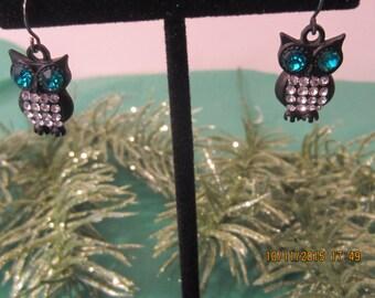 Brass Owl Earrings, Hypoallergenic, Rhinestone Earrings,  Dangle Earrings, Owl Earrings, Owl Jewelry, Fall Jewelry