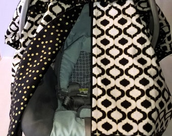 Car Seat Cover / Car Seat Canopy / Car Seat Cover Boy girl/Black and Gold/Carseat Canopy/Carseat Tent/ Girl Carseat Cover/Carseat Canopy