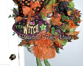 Halloween Wreath The Good Witch Wreath Witch legs wreath