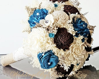 Teal Turquoise and Chocolate Sola Flower Bouquets,  Chocolate Turquoise Wedding Flowers, Rustic Shabby,Bridal Accessories, Keepsake Bouquet