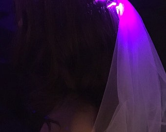 PURPLE Bridal Veil LED Crown, perfect for bachelorette parties, festival weddings, night ceremonies, wedding receptions, bridal gift