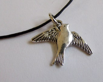Swallow Charm On Wax Cord Adjustable Unisex Free UK Shipping + Gift Bag CH1