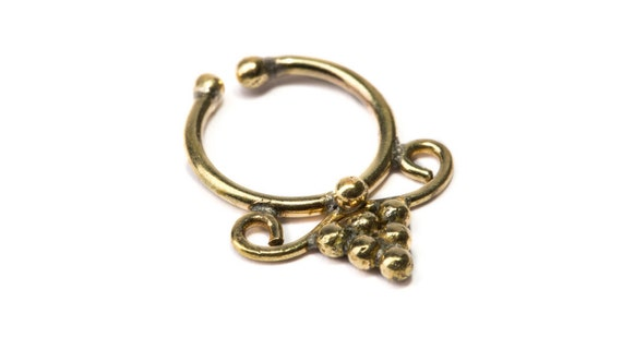 Septum Ring Brass Nickel Free Septum Fake Septum Tribal Jewelery Indian Nose Ring B14 Gift Boxed and Gift Bag Free UK Delivery