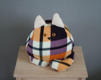 Smittens kitten small, fat cat plushie, plaid, made to order