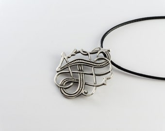 925 Sterling Silver Viking Norse Urnes Dragon Pendant