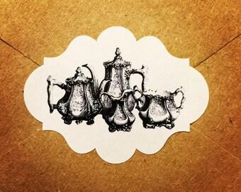 Envelope Seals / Stickers - Tea Pots #101 Qty: 30 Stickers