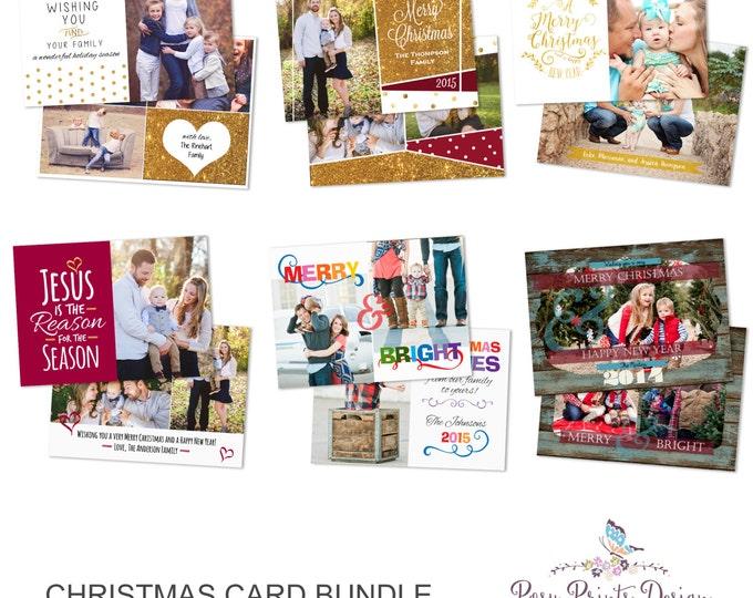 Christmas Card Bundle of Photoshop Templates - 5x7 Digital Photography Photoshop Files - Templates for Photographers - CCB03
