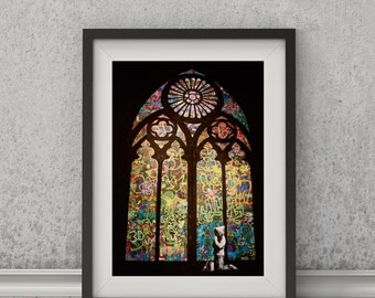 Stain Glass by Banksy Art Print